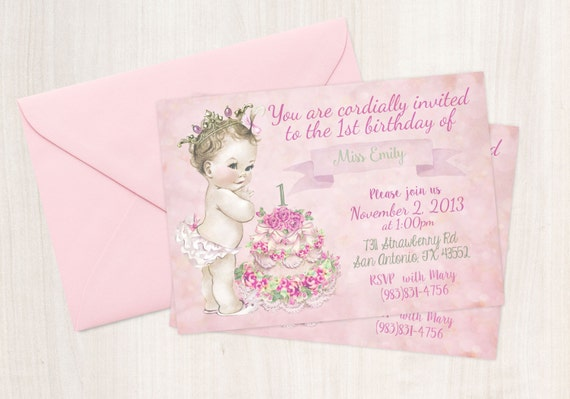 Vintage Baby Girl Customizable Birthday, Printable Invitations, Baby Girl, First Birthday, Pink, Crown, Floral Cake, Cute Baby Girl