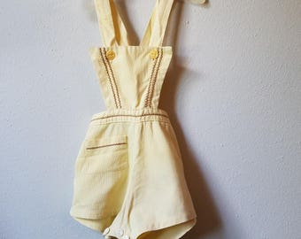 Vintage 1940s Yellow and Brown Playsuit Romper - Size 9-12 Months- Gently Worn
