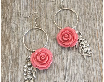 Vintage Dusty Pink Coral Rose Earrings