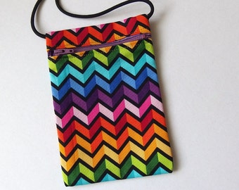 Pouch Zip Bag RAINBOW Zig Zag Fabric. Great for walkers, markets, travel.  Cell Phone Pouch. Small fabric purse.  Bike trike pouch. 6.5x4.5""
