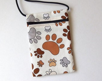 """Pouch Zip Bag PAWS Print - great for walkers, markets, travel. Cell Phone Pouch. small fabric purse. Animal paws print. 6.5x4.25"""""""