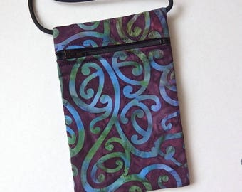 """BATIK Pouch Zip Bag NZ Fabric. Aubergine purple bag. Small fabric Purse. Great for walkers, markets, travel. Cell Phone Pouch. 6.75""""x4.25"""""""
