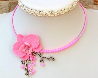 Pink Necklace,  Flower Necklace, Orchid Necklace, Statement Necklace, Spring Necklace, Pink Jewelry, Women Gift, Orchid Jewelry, Floral