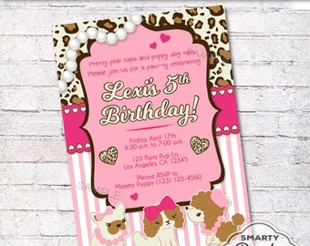 Puppy Party Invitations Invite Colorful Printable Personalized Parisian Customized 5x7 or 4x6