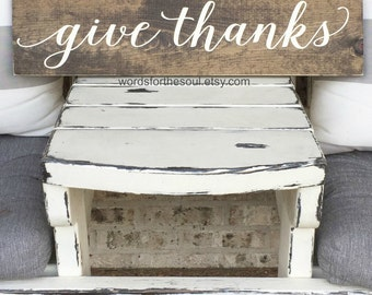 give thaks Sign | Autumn Wall Art | Kitchen Sign | Autumn Rustic Sign | Wooden Sign |  Farm house Sign | Gather Sign | Autumn Decor | gather