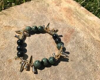 Green Beaded Spike Bracelet