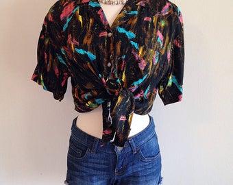 Vintage 1980s New Wave Paint Splash Ladies Hawaiian Shirt