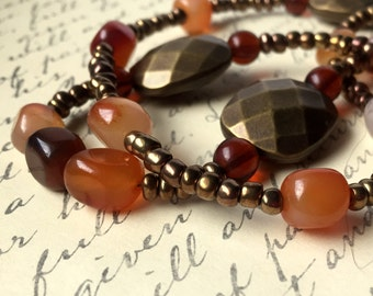 Earth Tones Long Beaded Necklace FREE Shipping Carnelian Natural Stone Rust Earthtones Brown Beads Rustic Fashion Jewelry Paisley Beading