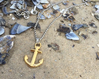 Nautical anchor necklace - Waterproof Maris Sal steel and gold necklace