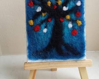 Tree miniature needle felt picture