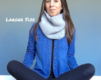 The MAEVE // Knit Wool Blend Textured Cowl Snood in Heather Gray // Larger Size // Chunky, Warm and Cozy // Ready to Ship!