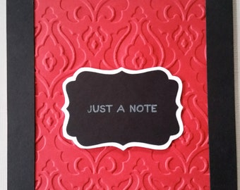 "Embossed ""Just a note"""