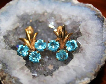 SALE! Antique Art Deco 12K GF Gold Filled Marked Aquamarine Blue Glass Exquisite Earrings ED3