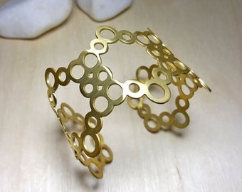 Gold Cuff Bracelet, Nature Inspired Jewelry, Beehive Jewelry, Honeycomb Bracelet, Gold Cuff Bracelets for Women, Geometric Cuff Bracelet