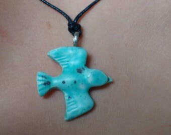 Essential Oil Pendant Turquoise Speckled Bird Diffuser Pendant Aromatherapy Jewellery Handmade in UK
