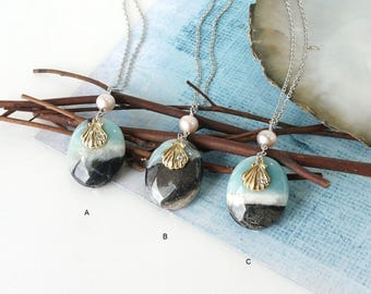 Beach Inspired Jewelry, Black Amazonite Stone Pendant Necklace with Shell Charm and Freshwater Pearl