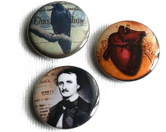 Poe Button Badges - Edgar Allan Poe Badges - Literary Themed Gifts - Raven Badges - Tell Tale Heart Badge - Gothic Badges - Goth Gifts