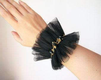 Black tulle ruffle cuff Gothic Lolita bracelet cuff with crystals Goth wrist cuff Wide bracelet Textile jewelry Fabric wrist cuff Armband