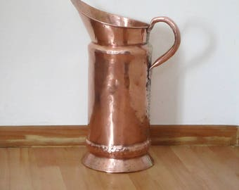 Very Large French Antique Copper Jug - Copper Pitcher - Umbrella Stand - Very Good Condition - Amazing Hand-Tooled Design