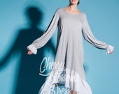 Grey Maxi dress/ Plus size dress/ Summer dress/ Maxi dress with sleeves/ Maxi dress summer/ Long sleeve dress/ Casual dress/ Day dress