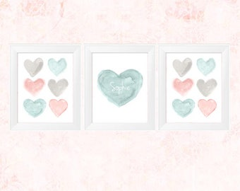 Teal Baby Nursery, 11x14-Set of 3 Nursery Prints, Pink and Green Art, Natural Nursery, Blush and Teal Print, Teal Nursery, Teal and Blush,