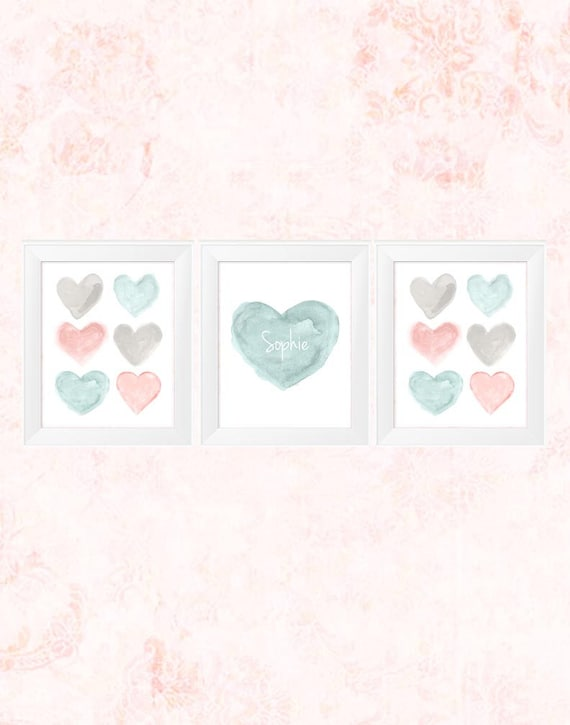 Teal and Blush Baby Nursery Prints, 11x14-Set of 3