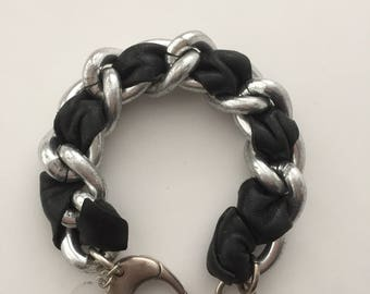 Grunge Collection's 'Chunky Link Leather Weaved' Bracelet