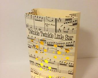 1 Twinkle Twinkle Little Star Luminary Bag, Vintage Sheet Music, Handmade, Star Party, Star Theme, Star Wedding, Party Decorations