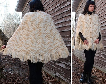 70s Cape Fringed SWEATER JACKET Vintage granny blanket Crochet Knit CHEVRON Mod Nehru collar natural Wood Buttons Cardi Coat Woman All Sizes