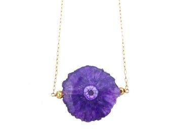 Purple Stalactite Necklace, Solar Quartz Necklace, Quartz Crystal Necklace, Druzy Jewelry, Stone Necklace
