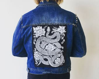 Original Hand carved Block Print sew-on back patch by MoonGoddessMarket®