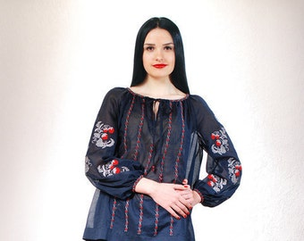Tunic vyshyvanka embroidered blouse navy tunic loose tunic dress tunica dress boho tunic dress boho blouse bohemian blouse ukrainian blouse