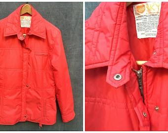 Vintage 70's Skyr Cherry Red Winter Ski Parka Zip Snap Ladies Size Large