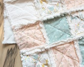 Pretty pastel deer unicorn floral minky baby girl rag quilt in cream, pink, aqua withs arrows and florals