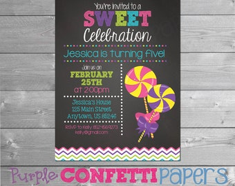 Lollipop Birthday Invitation, Lollipop Party, Lollipop, Lollipop Invitation, Candy Party, Candy Invitation, Candyland, Pink, Printable, 5x7
