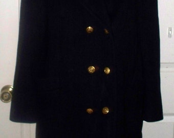 Men's Navy Wool Pea Coat - Brass Button Accent - Canal De Vieux - Size Unmarked - Maker Unmarked