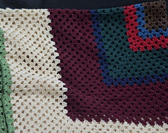 """eb2108 Vintage Crocheted Tablecloth Approx 38"""" x 38""""...vibrant colors."""