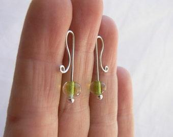Green earrings, Lime earrings, Lime green earrings, Silver studs, Silver wire earrings, Wire wrap earrings, Glass bead studs, Silver earring
