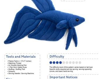Betta Fish Sewing Pattern, PDF Pattern, Plushie Sewing Pattern