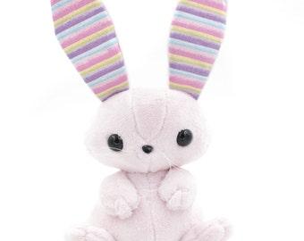Large Pink Bunny Stuffed Animal, Plush Toy, Plushie Rabbit, Sparkly Rainbow Ears