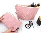 Specks Pattern Toiletry Bag - Cosmetics Bag - Travel Bag - Pink, Yellow or Black