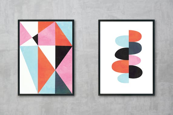 Abstract Mid Century Modern Print 2 Set Pink Aqua Blue Black White and Coral - Digital Instant Download - Customizable - Just ask!