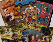 10 Postcards - Assorted fabric relief scenes