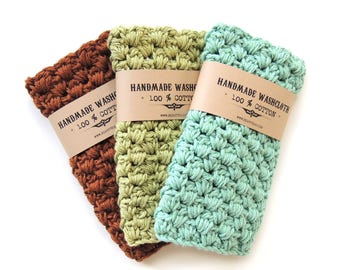 Wash cloth Cotton Washcloths Handmade Gifts for Men Crochet Washcloth for Men Stocking Stuffer