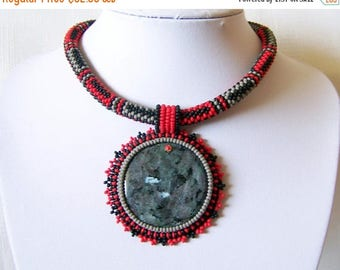 15% SALE Beadwork Bead Embroidery Pendant Necklace with Larvikite - GREY DANCE - grey, red and black necklace - modern necklace - beadwork n