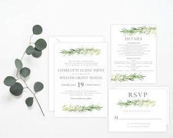 Printable Invitation - Rosemary Sprigs Wedding Invitation Suite, Greenery, Watercolor