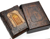 "Leather journal, ""A tale from Transylvania"", gothic journal, Book of shadows, blank book 6.5x9.8 inch (16.5x25 cm), 560 pages, with slipcase"