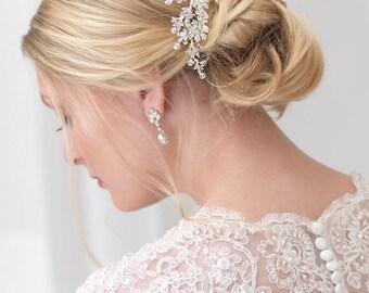 Swarovski Crystal Bridal Comb, Floral Bridal Hair Comb, Crystal Hair Comb, Bridal Hair Accessory, Wedding Headpiece,Bridal Headpiece ~TC-740