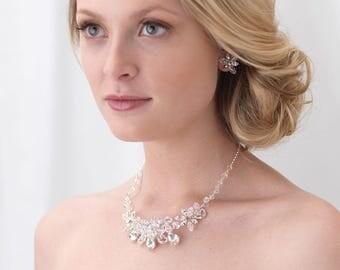 Floral Crystal Jewelry Set, Crystal Bridal Jewelry Set, Rhinestone Wedding Jewelry Set, Jewelry for Bride, Bride Jewelry Set, Bride ~JS-1659