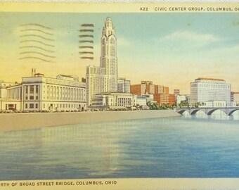 Vintage Columbus, Ohio Skyline Postcard 1930s